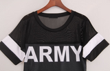 ARMY printed  patchwork nets transparent  t-shirt - BisCloset