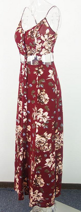 Sexy backless vintage red floral print maxi dress - BisCloset