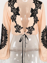 Sexy Deep V Design Lace Blouse Crop Top - BisCloset