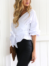 Ruffled Off Shoulder Black White Plaid Autumn Sexy Blouse - BisCloset