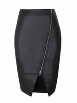 Black Leather Sexy Pencil Skirt BisCloset