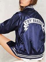 Blue Basic Jacket Try Harder Print Satin Outerwear - BisCloset
