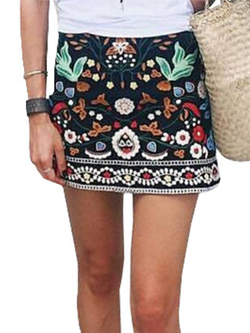Autumn Vintage Embroidery Floral Mini High Waist Skirt - BisCloset