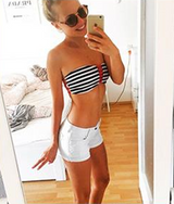 Sexy beach pad striped bikini - BisCloset