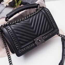 Fashion Black Chain V Design Pattern  HandBag - BisCloset