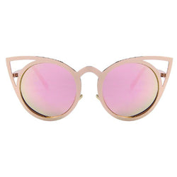 Classic Design Shades Round Frame Cat Eye Women's Sunglasses - BisCloset