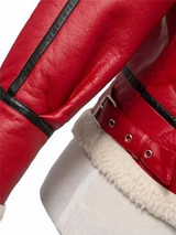 Casual Leather Red Winter Fur Jacket - BISCLOSET - 6