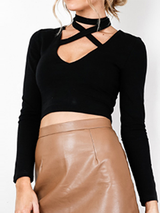 Lace up Halter Black Long Sleeve Crop Top Blouse - BisCloset