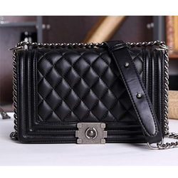 Fashion Brief Black Chain Plaid Hasp Bag - BisCloset