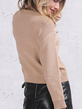 Lace up Knitted Sweater Pullover - BisCloset