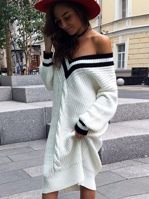 Oversize Striped V-neck Long Loose Knitwear  Pullover Sweater - BisCloset