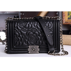 Fashion Black Chain Floral Pattern Hasp Bag - BisCloset