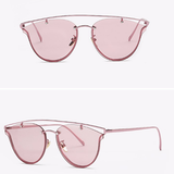 Women Cat Eye Double-Bridge Vintage Copper Frame Sun Glasses - BisCloset