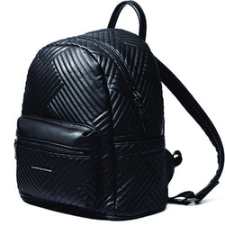 Black Leather Women Striped Backpack - BisCloset