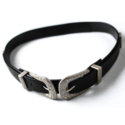 Women Belt Black Buckle Vintage Metal - BisCloset