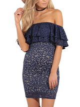 Sexy Lace Off Shoulder Dress BisCloset