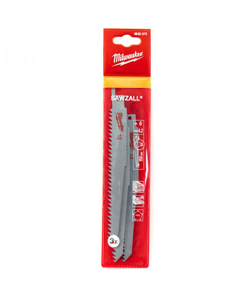 Milwaukee Sawzall Saw Blade 150mm 6 TPI Wood and Plastic 3 Pack 48001075