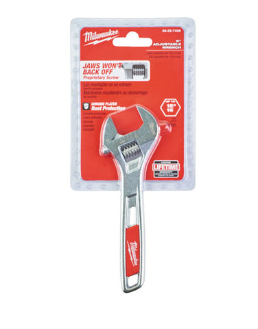 Milwaukee Adjustable 150mm Wrench Non Back Off Wide Jaw Thin Head  48227406
