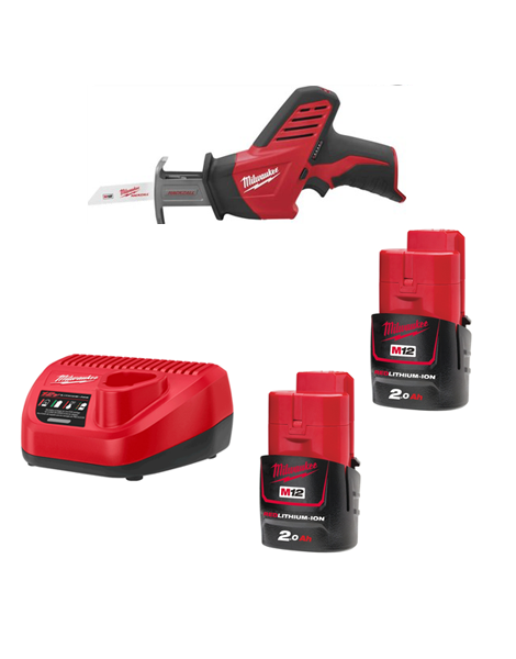 Milwaukee C12HZ-202C 12v Hackzall Compact Reciprocating Saw 2 x 2AMH Batteries Charger