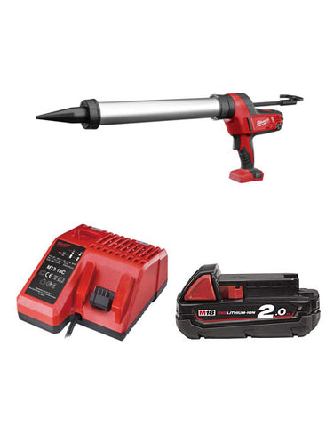 Milwaukee C18PCG600A-201B 18v 600ml Aluminium Caulking Gun 1 x 2Ah Battery + Charger