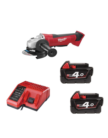 Milwaukee HD18AG-402C 18v 115mm Angle Grinder 2 x 4AMH Battery Charger