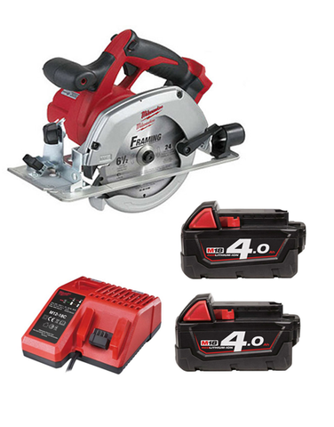 Milwaukee HD18CS-402C 18 Volt Circular Saw With Blade 2 x 4AMH Battery Charger