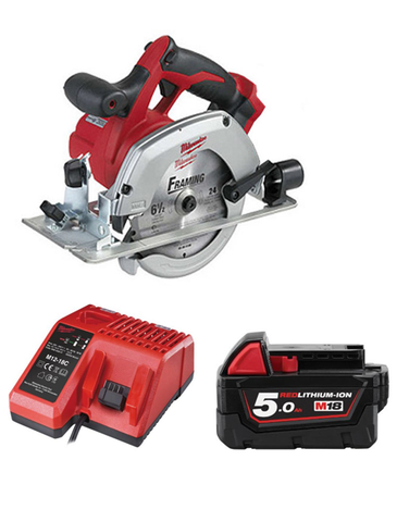 Milwaukee HD18CS-501C 18 Volt Circular Saw With Blade 1 x 5AMH Battery Charger