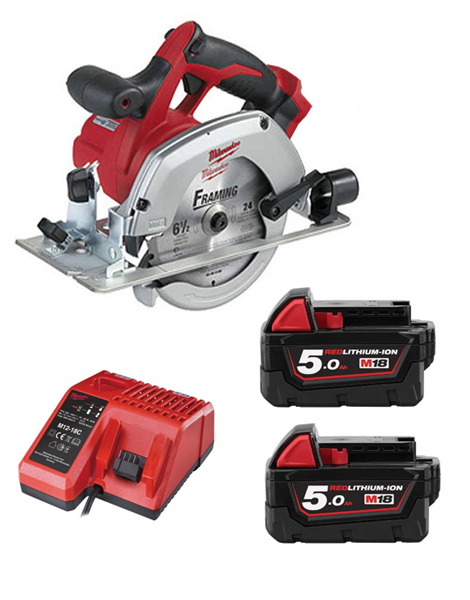 Milwaukee HD18CS-502C 18 Volt Circular Saw With Blade 2 x 5AMH Battery Charger