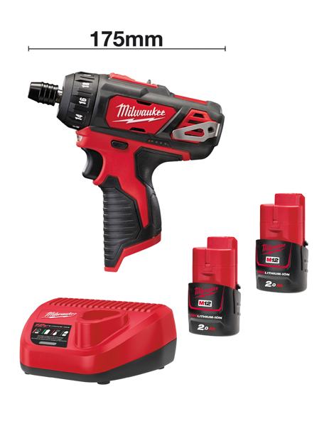 MILWAUKEE 12V M12BD-202 SUB COMPACT SCREWDRIVER 2 X 2AMH BATTERY CHARGER