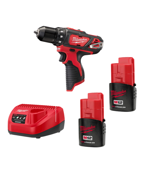 Milwaukee M12BDD-152C 12volt 2 Speed Sub Compact Drill Driver 2 x 1.5AMH Batteries Charger