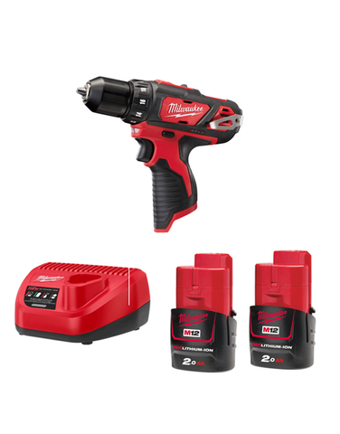 Milwaukee M12BDD-202C 12volt 2 Speed Sub Compact Drill Driver 2 x 2AMH Batteries Charger