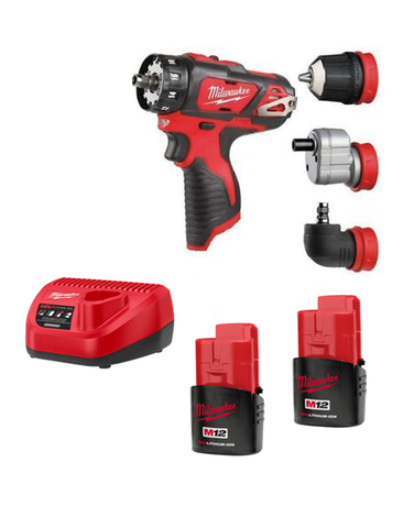Milwaukee M12BDDX-152C Compact Drill Driver With Interchangeable Chucks 2 x 1.5AMH Batteries Charger