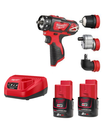 Milwaukee M12BDDX-202C Compact Drill Driver With Interchangeable Chucks 2 x 2AMH Batteries Charger