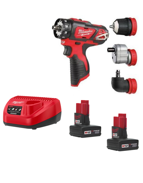 Milwaukee M12BDDX-302C Compact Drill Driver With Interchangeable Chucks 2 x 3AMH Batteries Charger