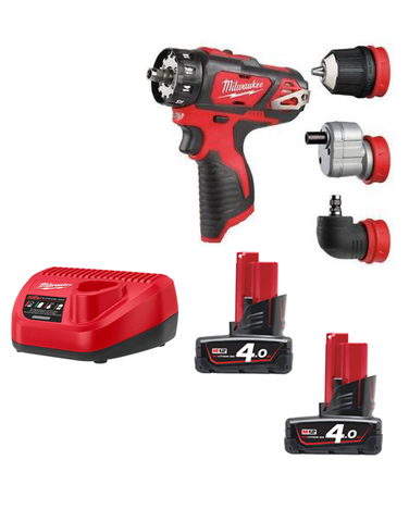 Milwaukee M12BDDX-402C Compact Drill Driver With Interchangeable Chucks 2 x 4AMH Batteries Charger