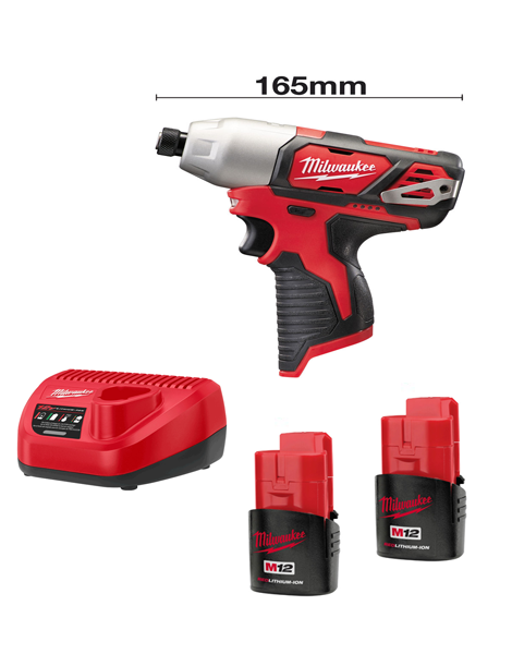 Milwaukee M12BID-152C 12volt 165mm Sub Compact Impact Driver 2 x 1.5AMH Batteries Charger