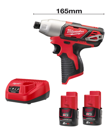 Milwaukee M12BID-202C 12volt 165mm Sub Compact Impact Driver 2 x 2AMH Batteries Charger