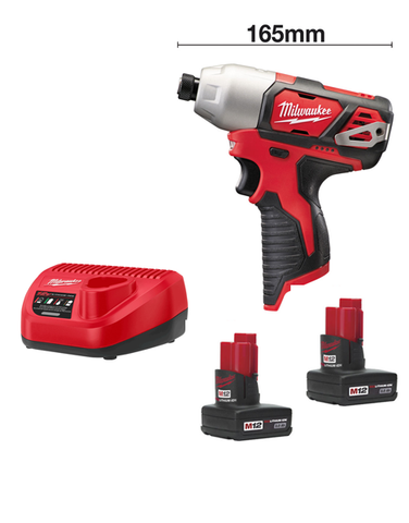 Milwaukee M12BID-302C 12volt 165mm Sub Compact Impact Driver 2 x 3AMH Batteries Charger