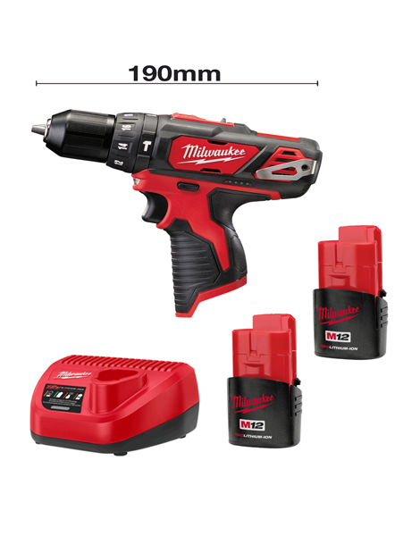Milwaukee M12BPD-152C 12v Li-ion Compact Percussion Drill 2 x 1.5AMH Batteries Charger