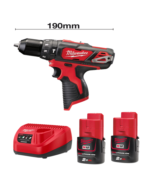 Milwaukee M12BPD-202C 12v Li-ion Compact Percussion Drill 2 x 2AMH Batteries Charger