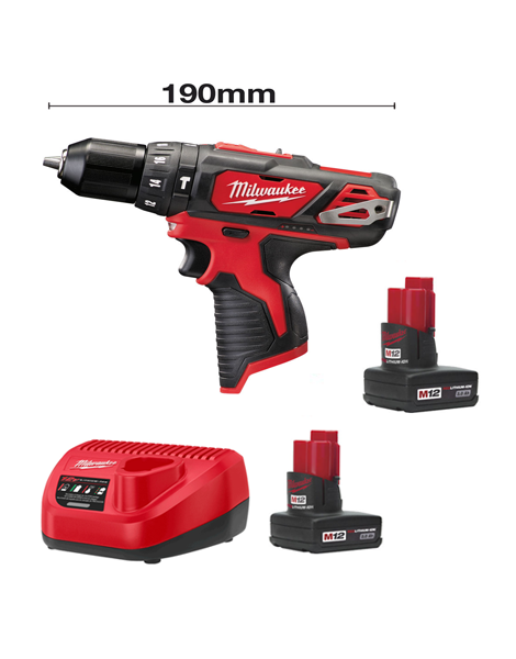 Milwaukee M12BPD-302C 12v Li-ion Compact Percussion Drill 2 x 3AMH Batteries Charger