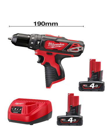 Milwaukee M12BPD-402C 12v Li-ion Compact Percussion Drill 2 x 4AMH Batteries Charger