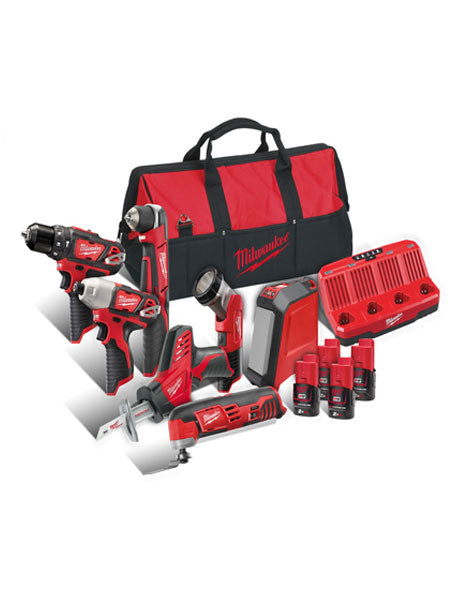Milwaukee M12BPP7A-204B 12v 7 Piece Contractors Kit