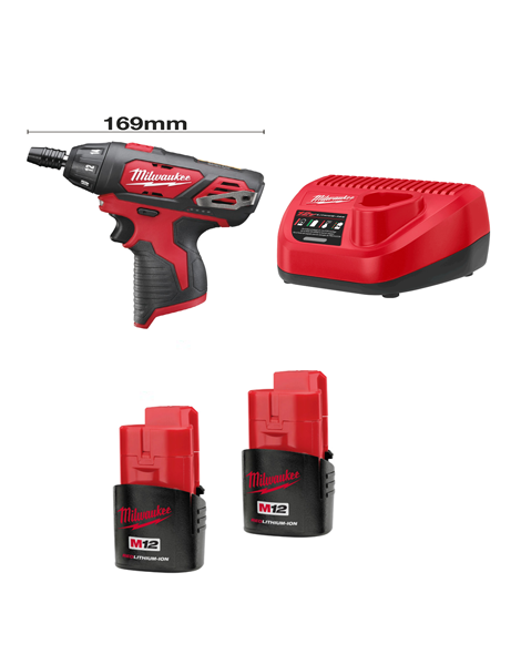 "Milwaukee M12BSD-152C Sub Compact Single Speed Drill 1/4"" Hex Chuck 2 x 1.5AMH Batteries Charger"