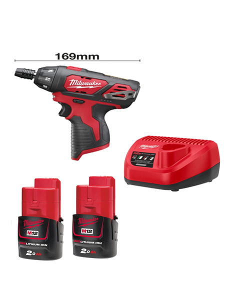 "Milwaukee M12BSD-202C Sub Compact Single Speed Drill 1/4"" Hex Chuck 2 x 2AMH Batteries Charger"