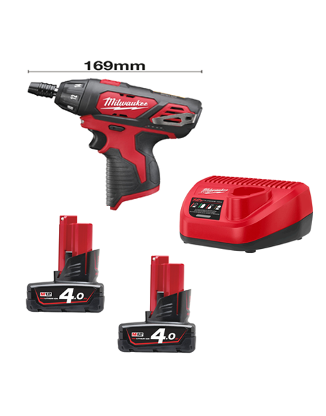 "Milwaukee M12BSD-402C Sub Compact Single Speed Drill 1/4"" Hex Chuck 2 x 4AMH Batteries Charger"