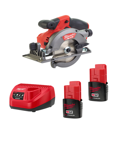Milwaukee M12CCS44-152C 12 Volt Fuel Brushless Compact Circular Saw 2 x 1.5AMH Batteries Charger