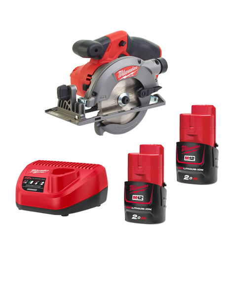 Milwaukee M12CCS44-202C 12Volt Fuel Brushless Compact Circular Saw 2 x 2AMH Batteries Charger