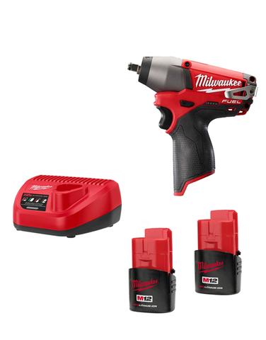 Milwaukee M12CIW38-202C 12v Fuel Brushless M12 Impact Wrench 3/8 2 x 2amh Batteries Charger