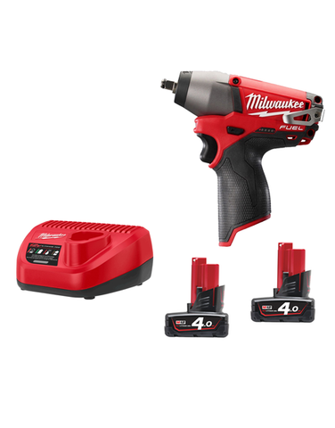 Milwaukee M12CIW38-402C 12v Fuel Brushless M12 Impact Wrench 3/8 2 x 4amh Batteries Charger